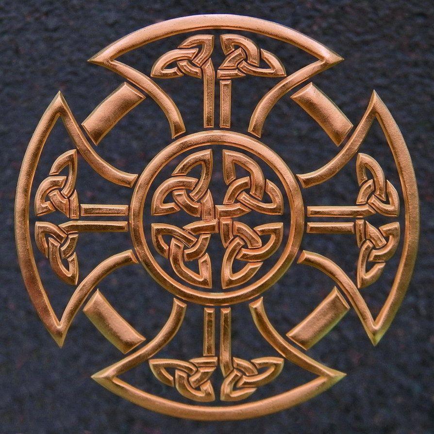 Deep copper celtic cross by uddarrianashoka celtic cross