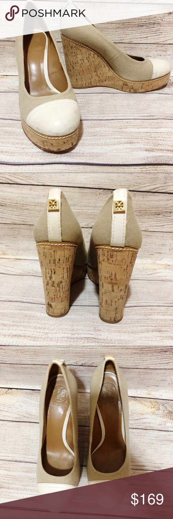 bcda9693797a Tory Burch size 8 Cork Wedges Tory Burch Size 8 Cork Wedges Cream and Tan  Well loved Gold emblem on back of heel Tory Burch Shoes Wedges