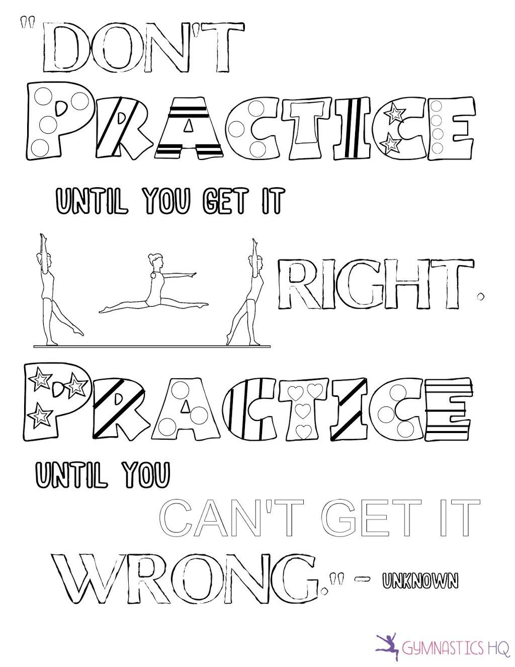 Motivational Quote Gymnastics Coloring Page Gymnastic Cheer Quotes Gymnastics Quotes Tumbling Quotes