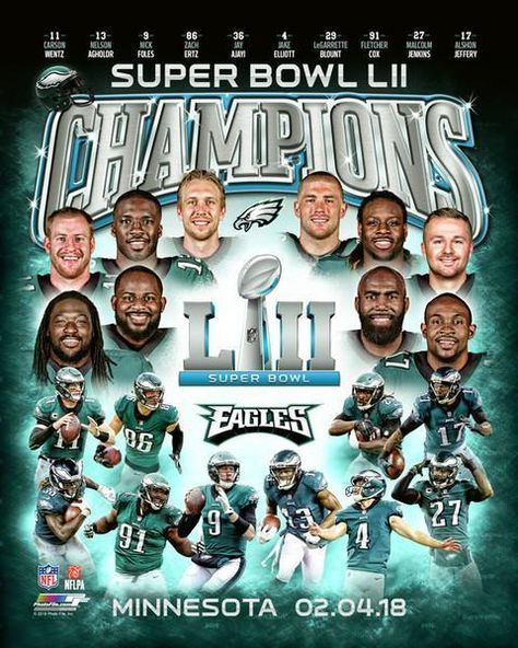 Philadelphia Eagles Super Bowl Lii Champions Collage Nfl Football 8 X 10 Photo Philadelphia Eagles Super Bowl Eagles Super Bowl Philadelphia Eagles Football