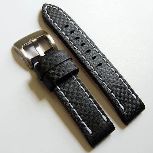 34a98ad951f LUX Leather Carbon Fiber Embossed Pattern Watch Strap Band 20-24mm ...