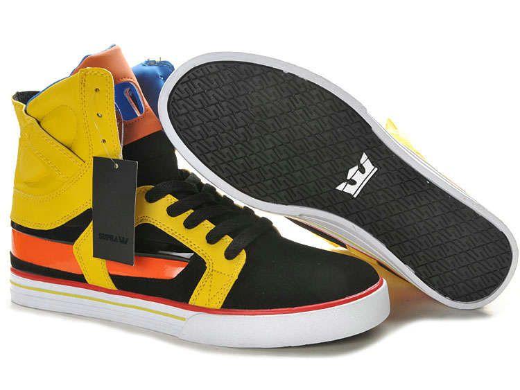 Supra Mens Shoes Black Orange Yellow