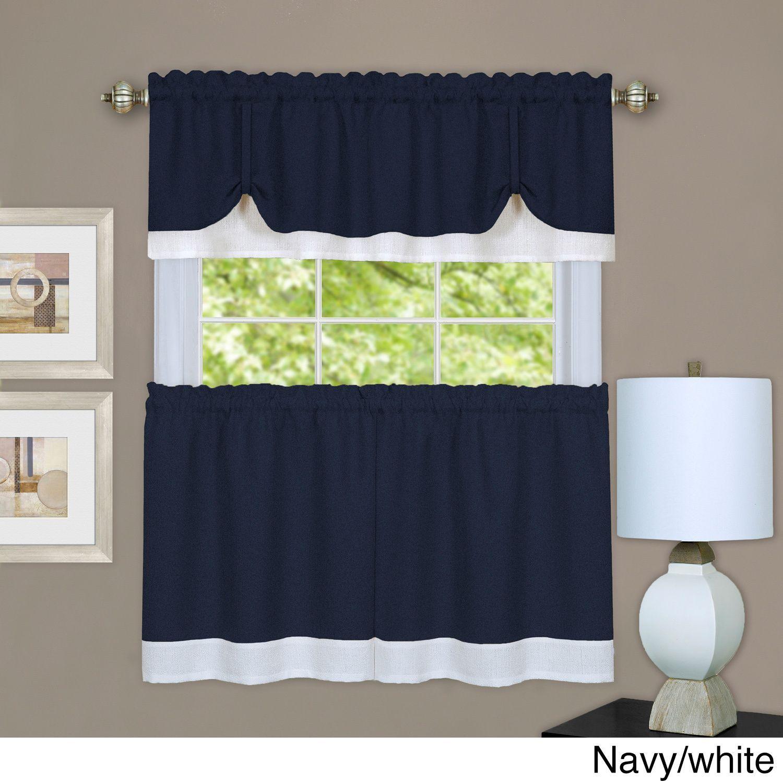 ACHIM Darcy Window Curtain Tier and Valance Set (58x36 - Grey/White ...