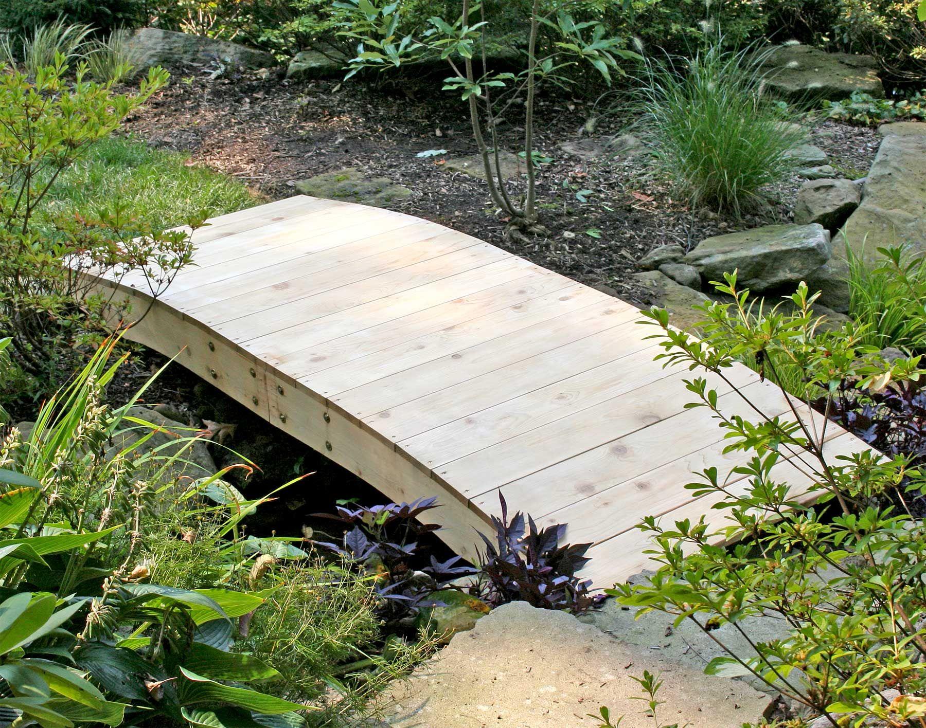 Red Cedar Crescent Moon Plank Bridge With Images Garden Bridge Garden Bridge Design Japanese Garden