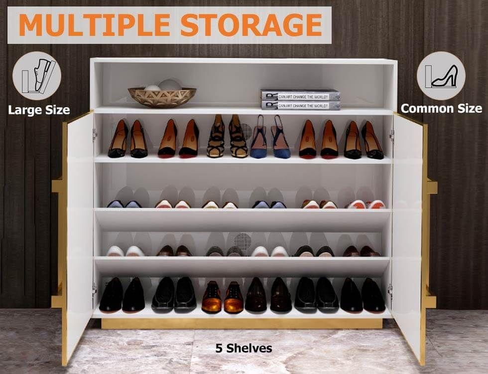 White Shoe Storage Cabinet Modern 5 Shelves Entryway Shoe Cabinet In Gold 16 Pairs 24 Pairs Shoe Cabinet Entryway Shoe Storage Cabinet Shoe Shelves