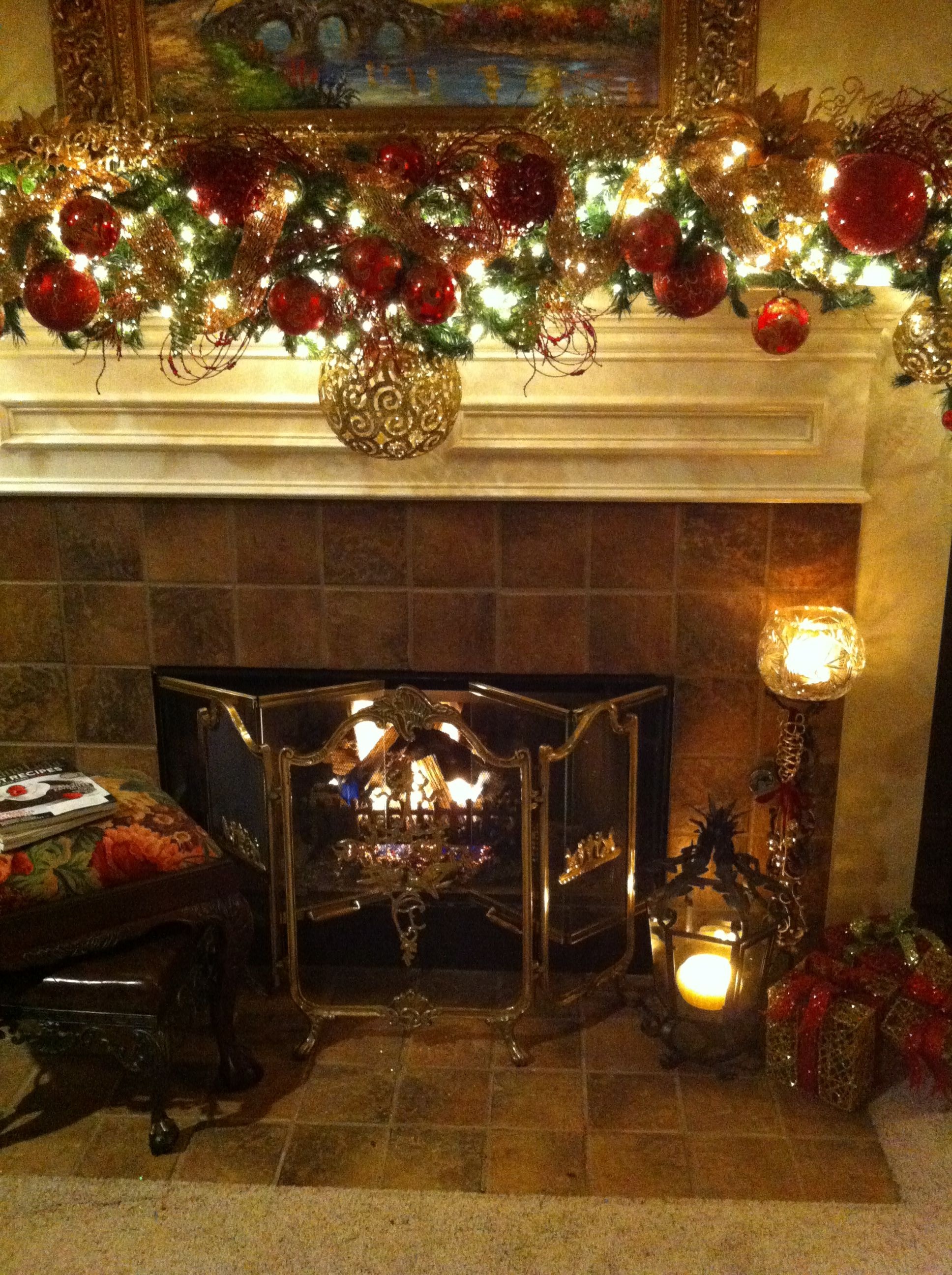Working On My Christmas Mantle Decorations Tonight Love All The Ideas On Pinterest Christmas Fireplace Christmas Fireplace Decor Christmas Decorations