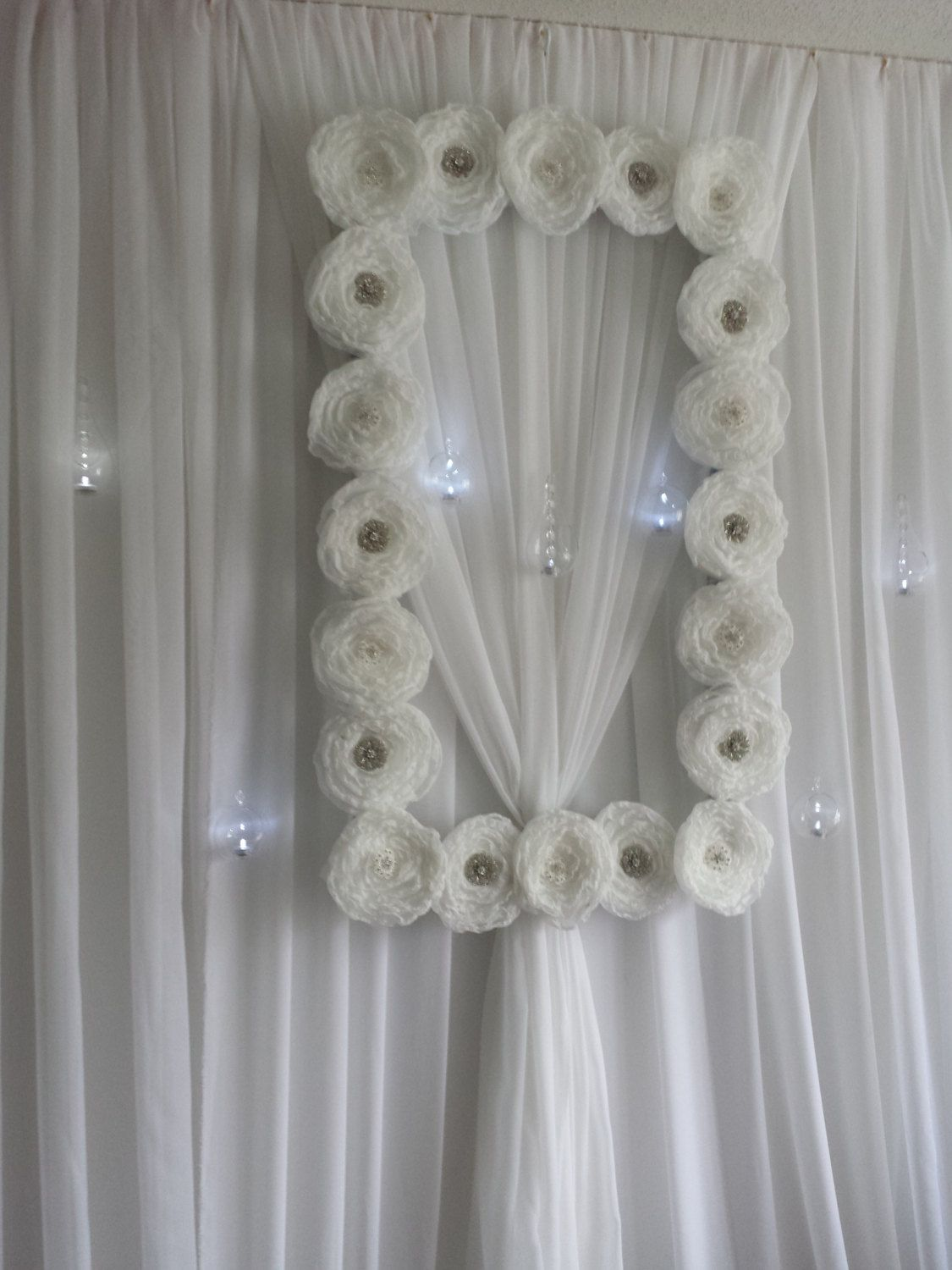 Flower frame backdrop with rhinestone brooches large