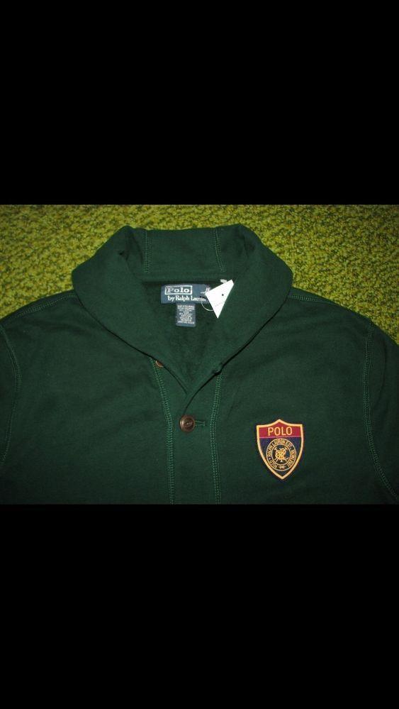 Men's POLO-RALPH LAUREN Fleece Shawl-Neck /Collar Cardigan Sweater (L) Varsity