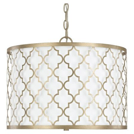 quatrefoil pendant light seedy glass featuring quatrefoil overlay in brushed gold this striking drum pendant brings classic appeal to your dining room or home office p