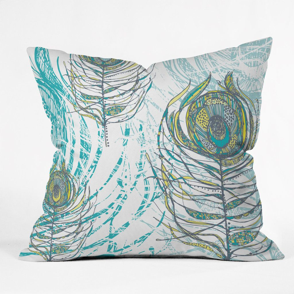 Rachael Taylor Peacock Feathers Throw Pillow | DENY Designs Home Accessories