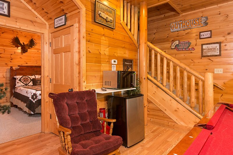 Refrigerator and microwave added to game room. Great addition for our guests.   Pat Kirchhoefer, owner of the cabins Escape to Times Past    #mybearfootcabins #pigeonforge #cabinlife #gatlinburg #sevierville #vacay #vacation #mountains  © Insight Photography 2016