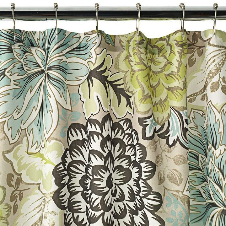 Reiko Floral Brown Green Blue Shower Curtain NEW Home Classics Tan