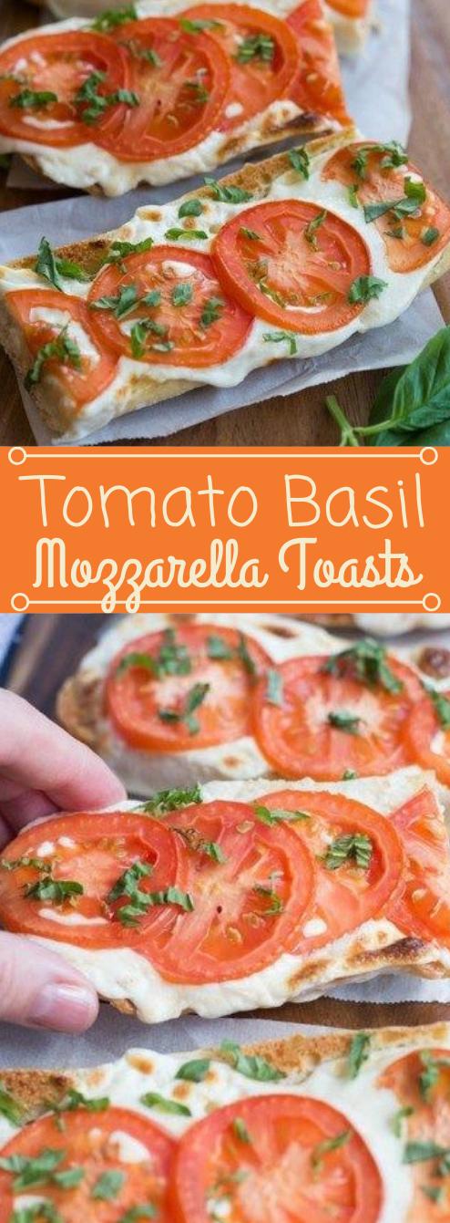 TOMATO BASIL MOZZARELLA TOASTS #vegetarian #mozzarella #tomato #dinner #shrimp #insurancequotes