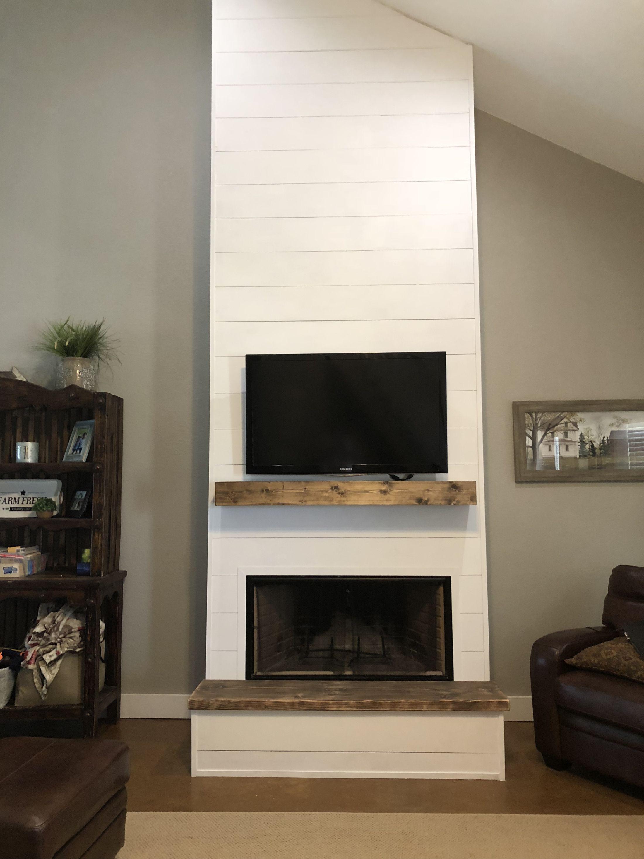 DIY Shiplap Fireplace (On A Budget) Hunt Farmhouse