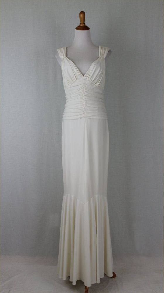 VERA WANG Collection Draped Fishtail Hem Ivory Jersey Gown ...