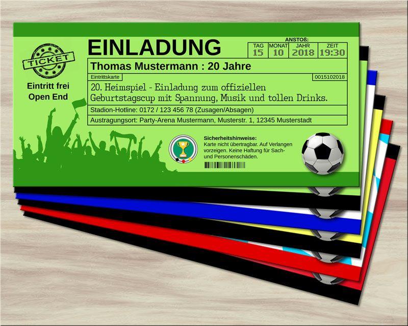 fussball einladungskarten im ticketformat grün * alter und
