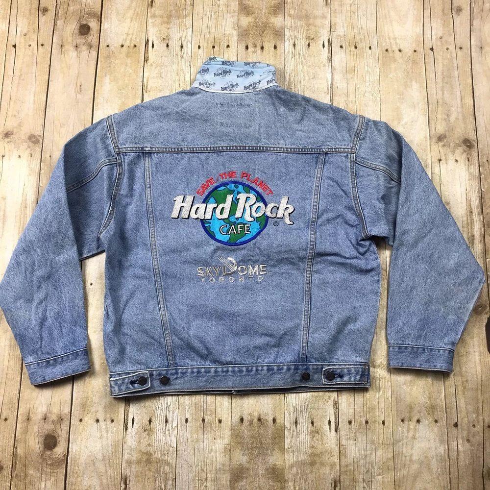 Hard Rock Cafe Vintage Toronto Skydome Denim Trucker Jean Jacket Medium Fashion Clothing Shoes Accessories Mensclothin Jackets Jean Jacket Coats Jackets [ 1000 x 1000 Pixel ]
