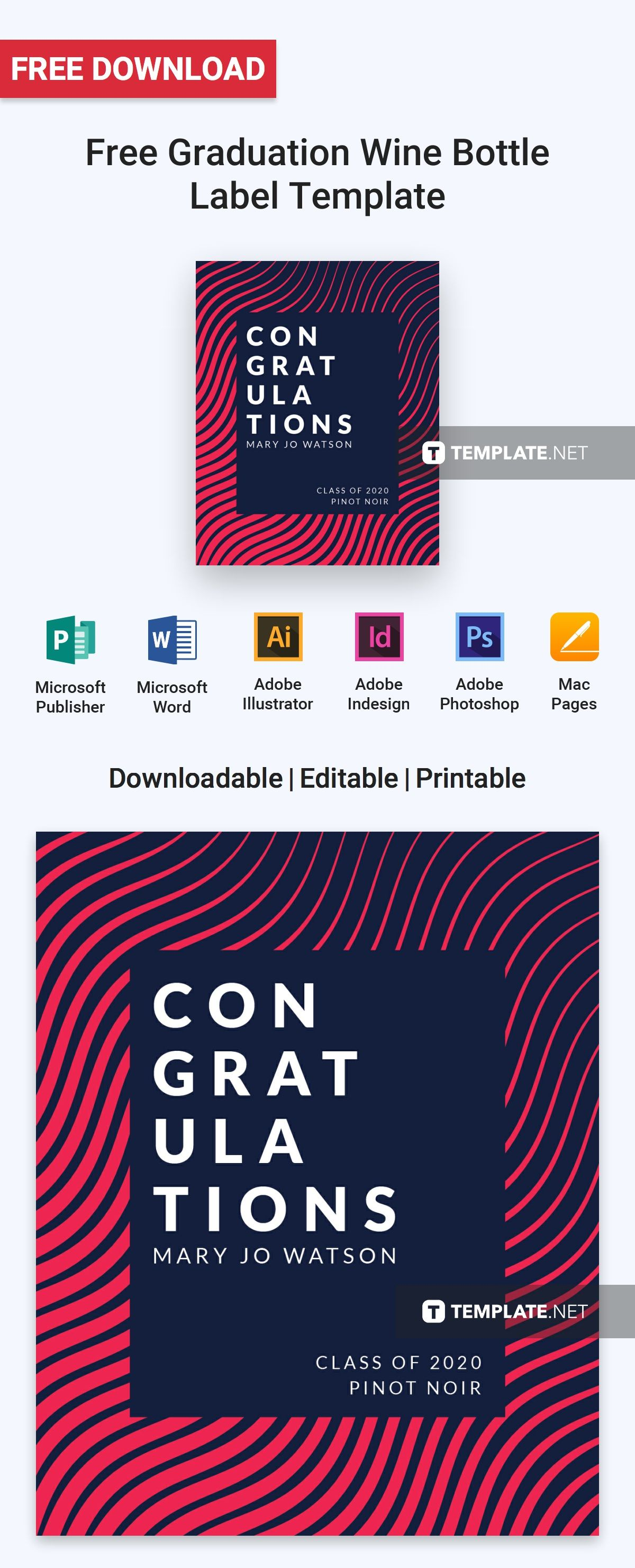 Free Graduation Wine Bottle Label Template Word Doc Psd Indesign Apple Mac Pages Publisher Illustrator Bottle Label Template Label Templates Wine Bottle Labels Graduation address labels template free