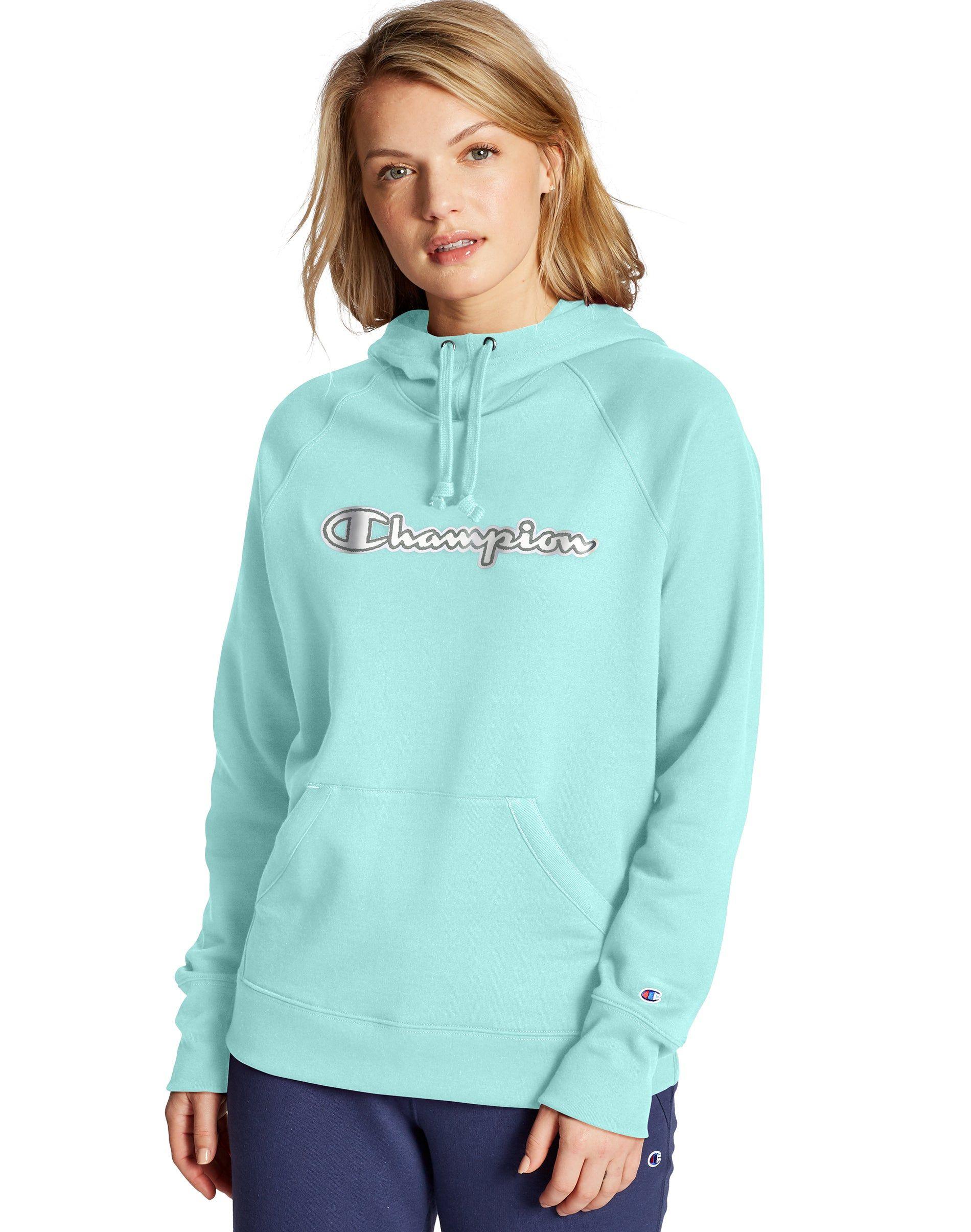 Champion Women S Athletics Powerblend Fleece Pullover Hoodie Chainstitch Logo Amazing Aqua Applique Hoodie Hoodies Hoodies Womens Pullover [ 2410 x 1900 Pixel ]