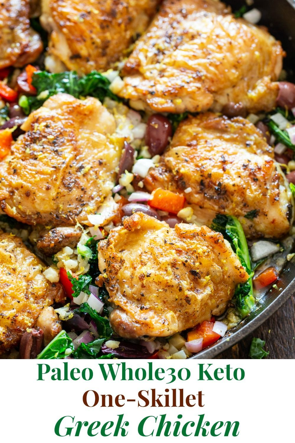 Photo of A frying pan of Greek Chicken {Paleo, Whole30, Keto} |