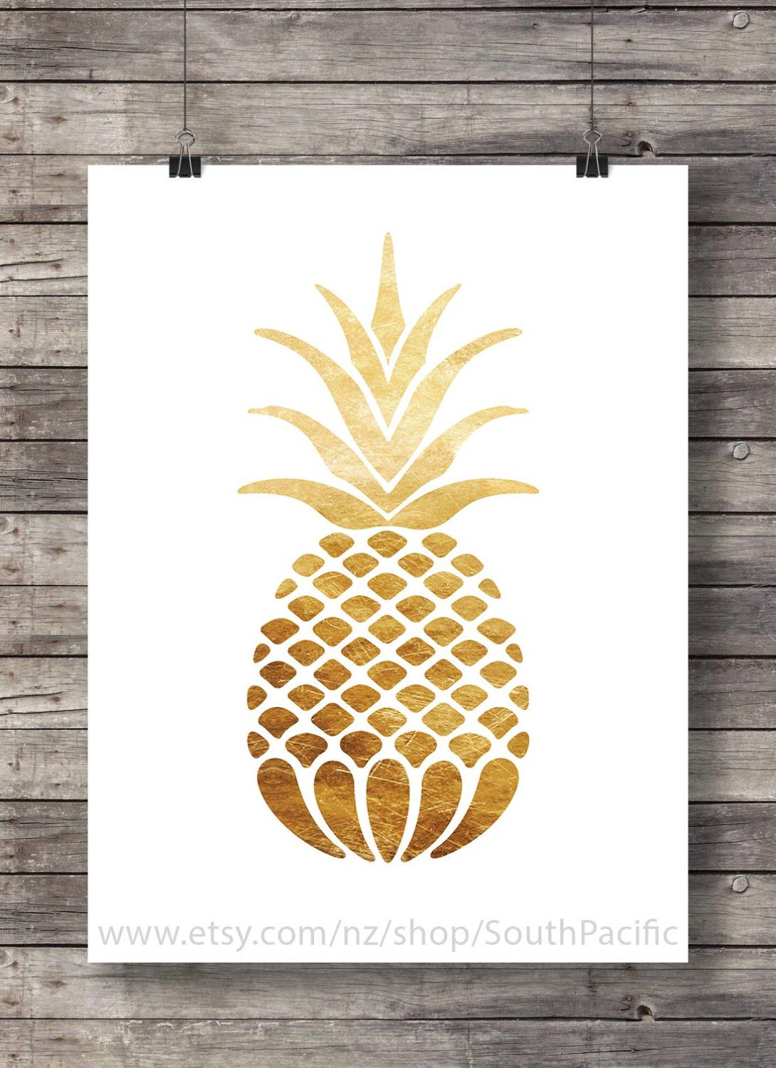 Faux gold foil pineapple print - tropical pineapple luxe gold wall ...