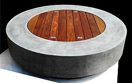 Large Concrete Cylindrical Fire Pit Table In Stone Ernsdorf Design Outside Fire Pits Outdoor Fire Pit Outdoor Fire Pit Designs