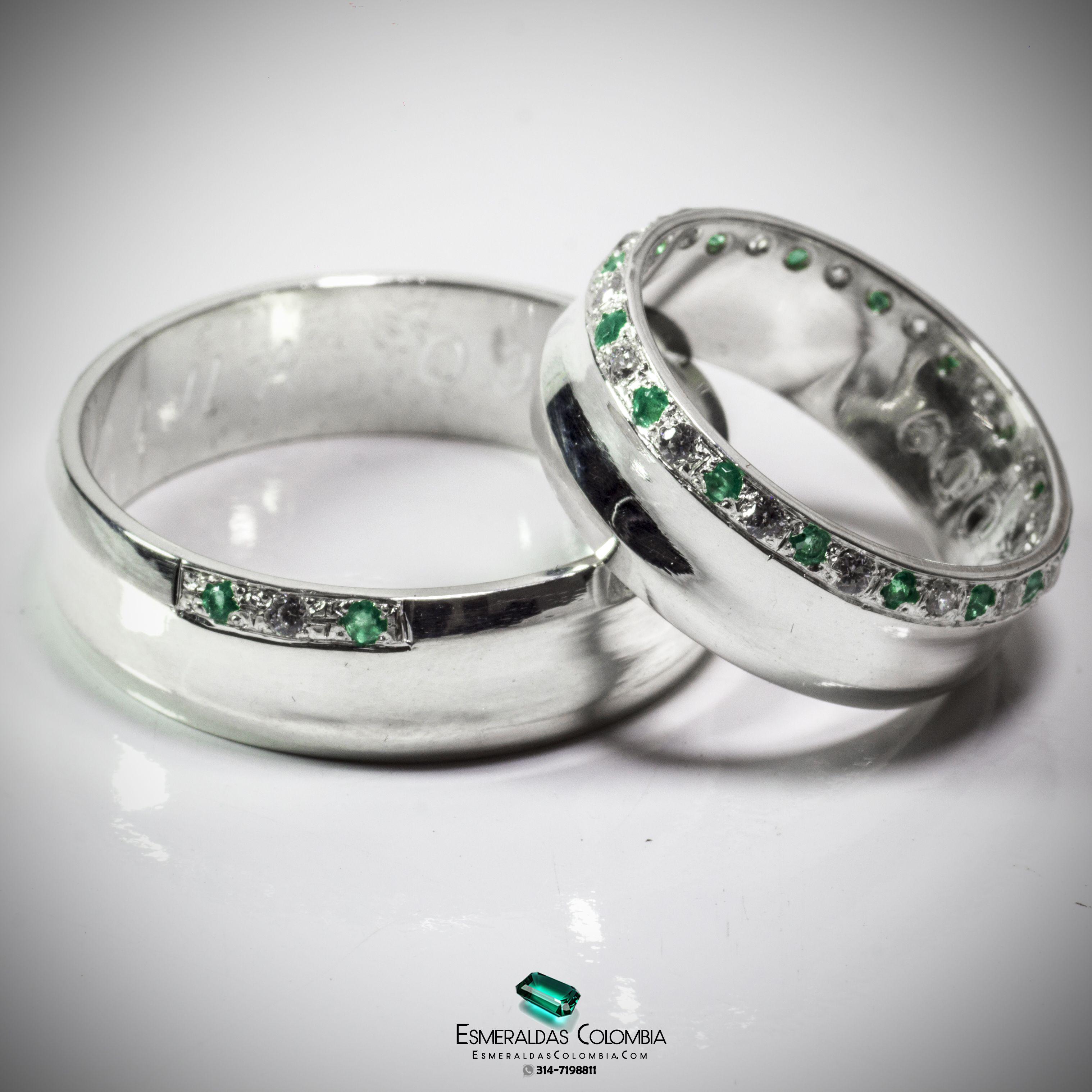 942e45893b69 Argollas de Matrimonio en Oro 18k o Plata con Diamante sintético o  Esmeralda Colombiana  esmeraldascolombia