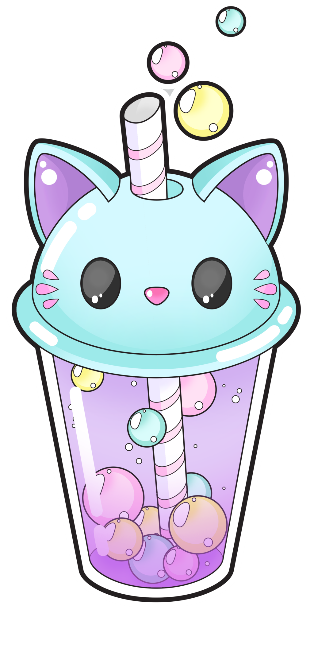 Cute cat bubble tea open] by Meloxi on