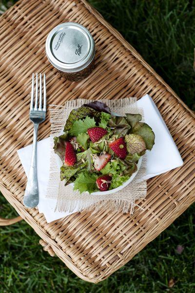 Summer salad w/ strawberries and maple balsamic vinaigrette via this homemade life