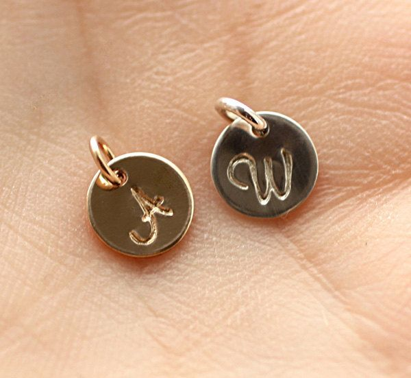 ADD ON - Tiny Initial Charm, Personalized Hand Stamped Initial Charm, Add On to Any Necklace - 14k Gold Filled, Sterling Silver. $4.00, via Etsy.