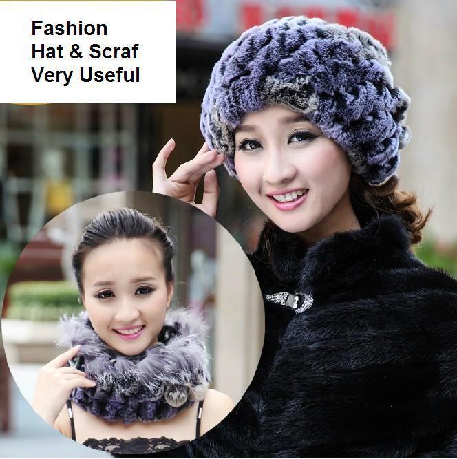 H749-excellent  cap with natural rex rabbit fur gradient color winter thicken scarf one piece  colorful women fur hat