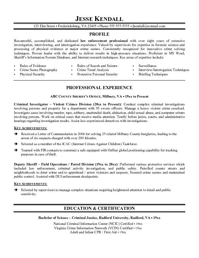 resume sample objectives for fbi
