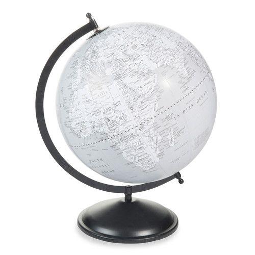 globe terrestre en plastique gris h 47 cm hudson home. Black Bedroom Furniture Sets. Home Design Ideas