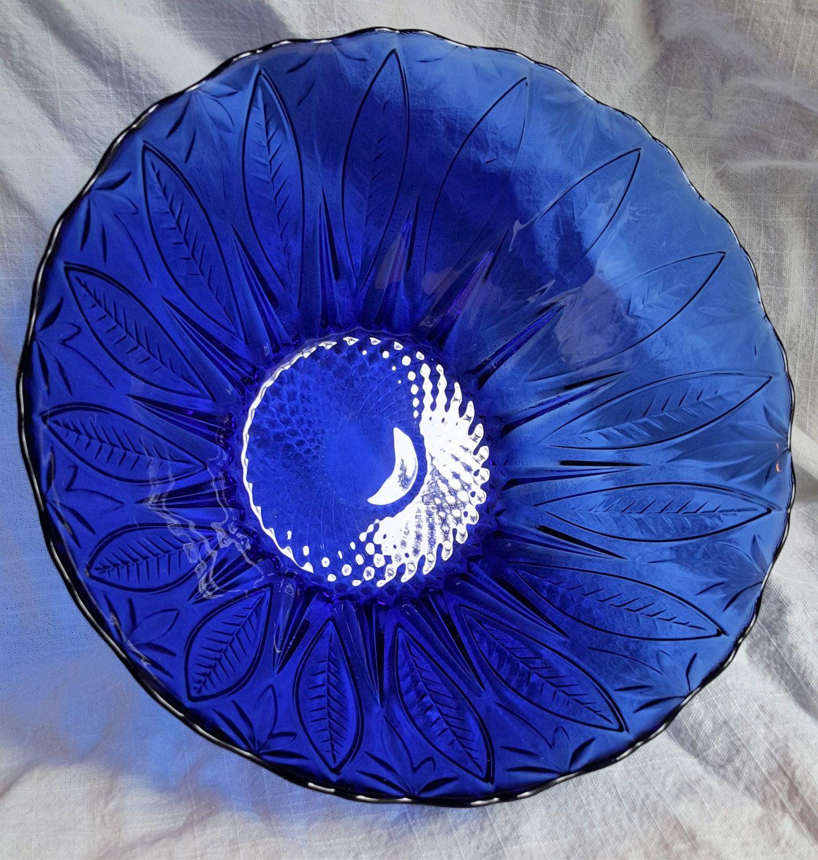 Avon Royal Sapphire Salad Bowl Vintage Cobalt French Glassware