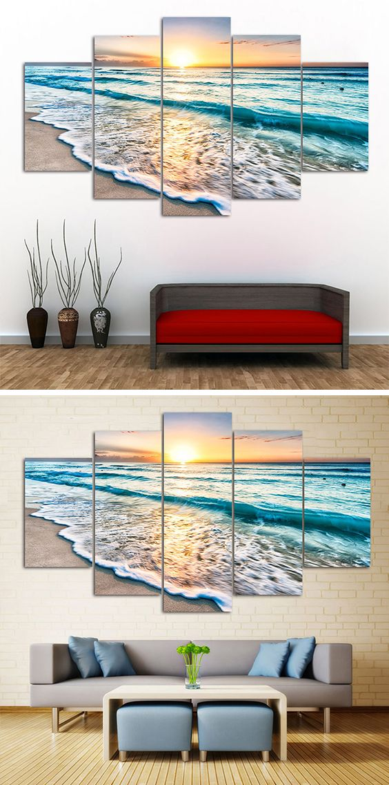 How To Decorate Your Living Rooms Beach Print Canvas Paintings For