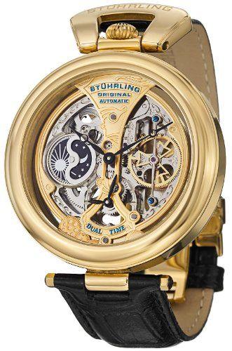 0af628e297b Stuhrling Original Men s 127A.333531 Special Reserve Emperor s Grandeur Automatic  Skeleton Dual Time Gold Tone