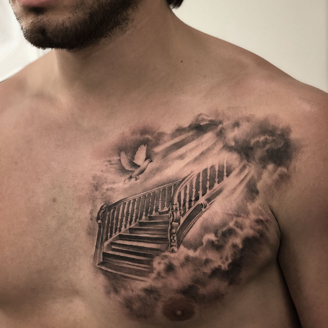 To See More Tattoos Like This Please Visit Https Www Chronicinktattoo Com Stairs To Heaven Tattoo Stairway To Heaven Tattoo Heaven Tattoos