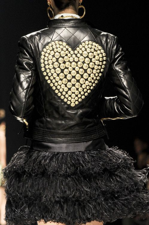 Leather Jacket, Golden Heart, Rocker Skirt.