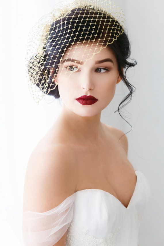 Gold Birdcage Veil French Netting