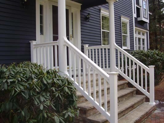 outside porch handrails for stairs | Precious Vinyl Deck Stair ...