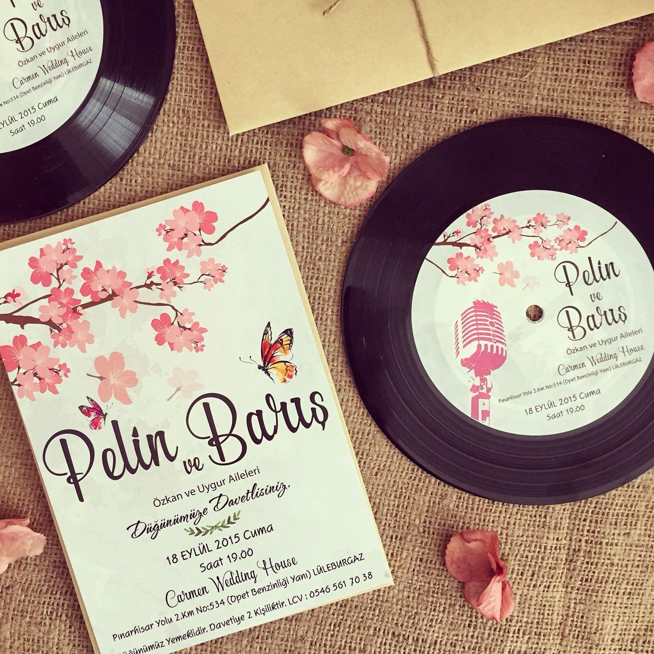 Plak davetiye / Record wedding invitation www.masalsiatolye.com ...