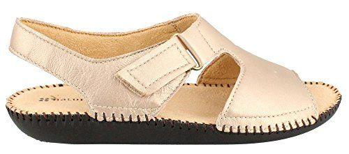 Women's Scout Leather Low Heel Sandals Champagne Deerskin 10 M