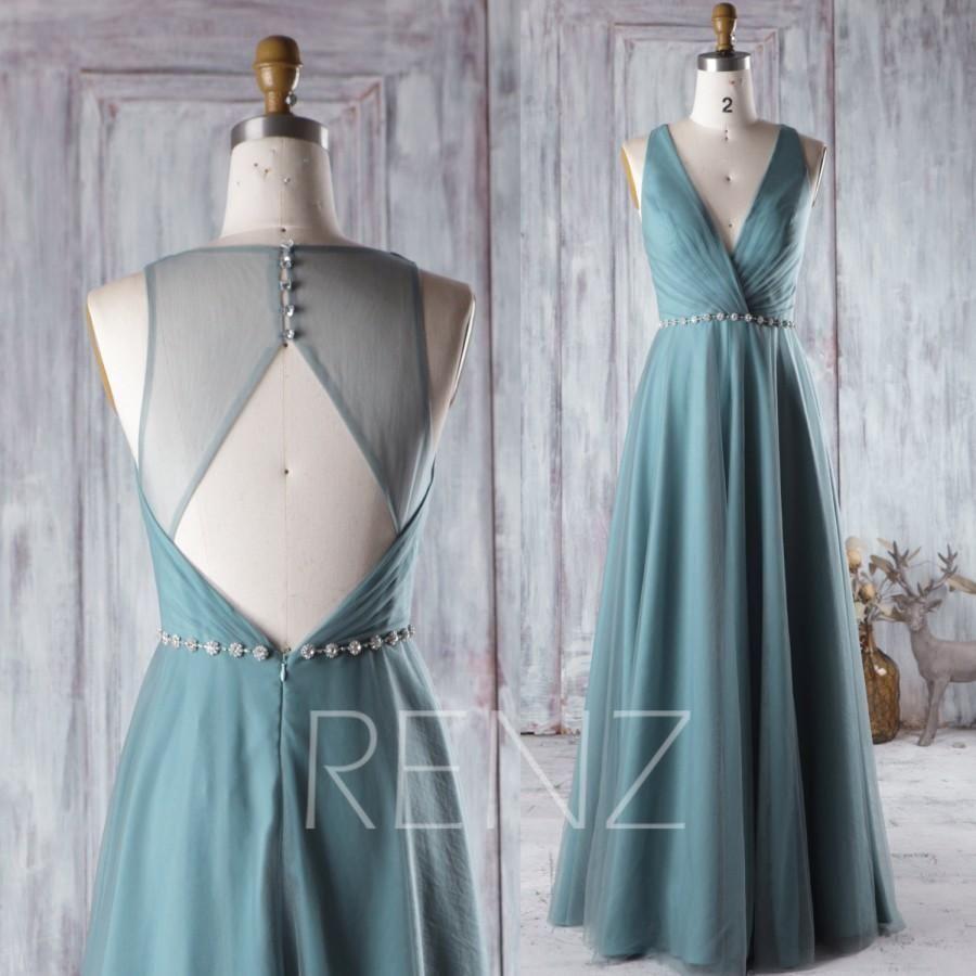 2016 long dusty green bridesmaid dress long mesh wedding dress with 2016 long dusty green bridesmaid dress long mesh wedding dress with beading open back ombrellifo Gallery