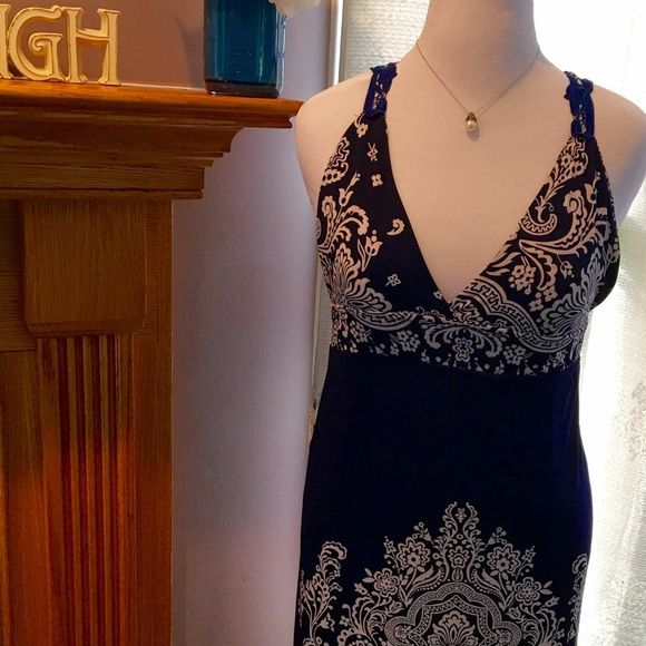 Blue and white lace racer back maxi dress Sexy Royal and white maxi dress with beautiful lace racer back. Like new. So pretty for summer Second skin Dresses Maxi