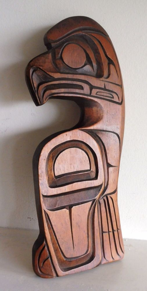 Northwest Coast First Nations Native Art Carving Wooden EAGLE Wall Panel Signed