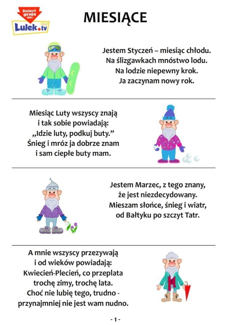 Wierszyki Miesiące Cz1 Uczę Się ćwiczenia Domowy