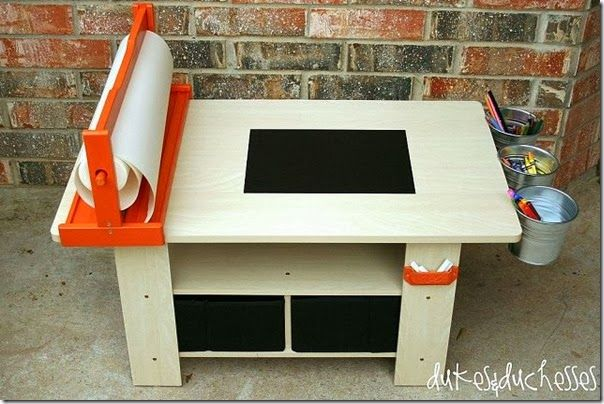 Art storage table to diy! Keep all of their art supplies handy and under control!