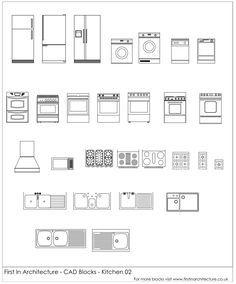 Free CAD Blocks – Kitchen 02 | gggd | Cad blocks, Interior