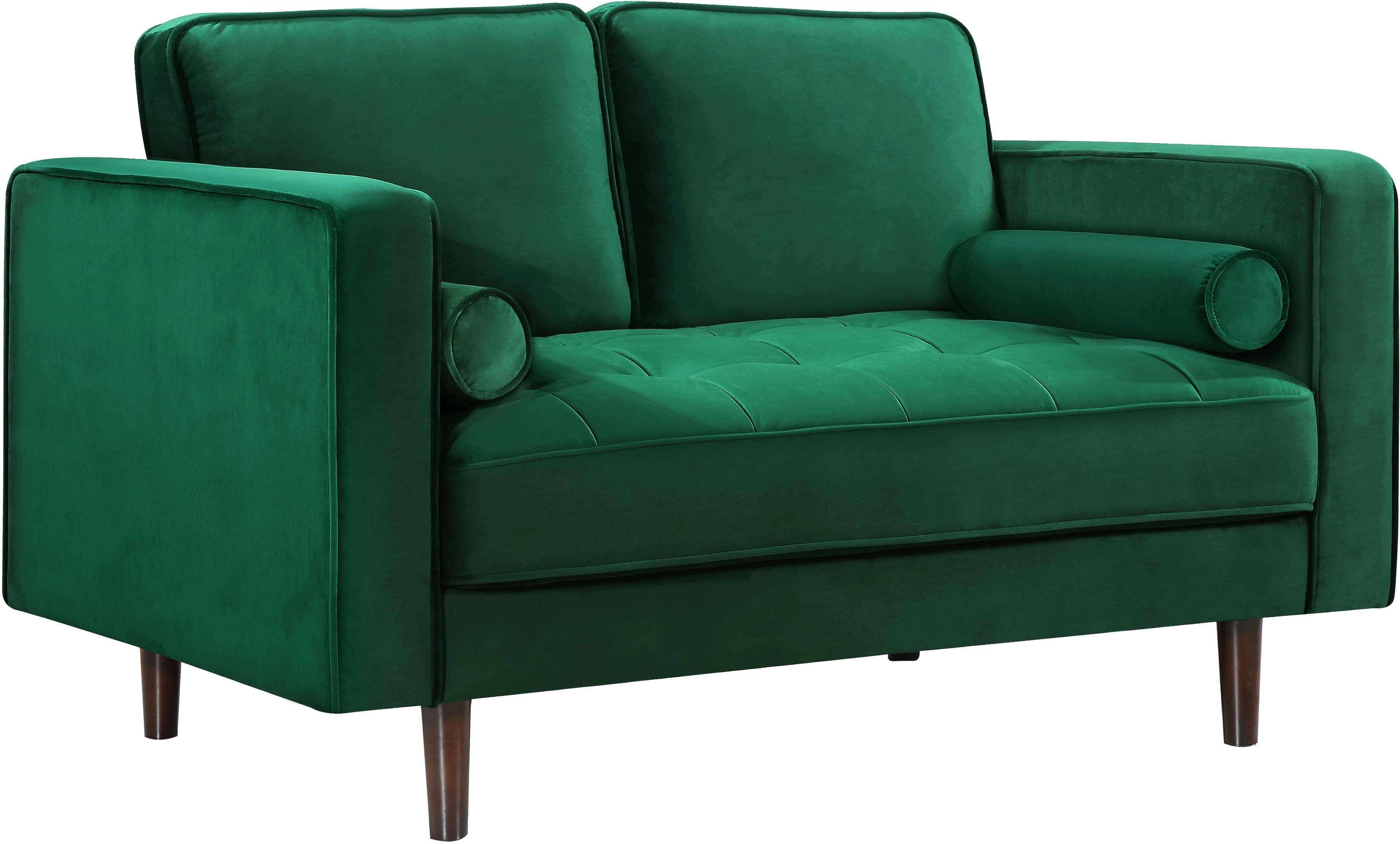 Meridian Emily Green Velvet Loveseat Reviews Goedekers Com Upholstered Sofa Love Seat Velvet Loveseat