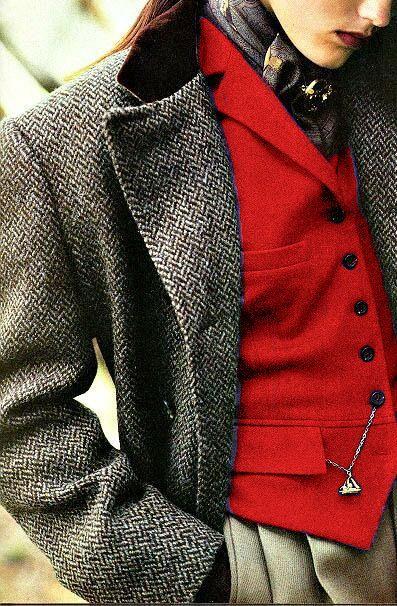 Ralph Lauren detail ~ Tweed.  Always love the velvet collar of a Chesterfield!